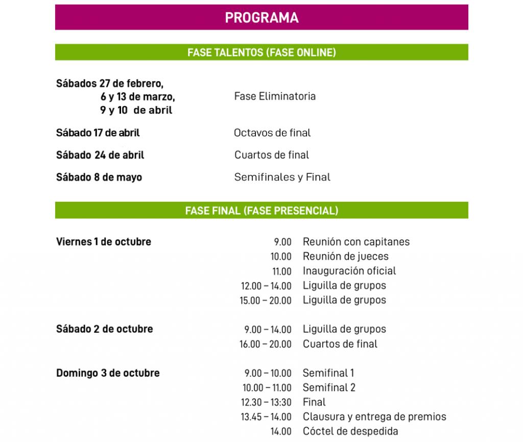 Programa Fase Final de Liga Española de Debate Universitaria LEDU