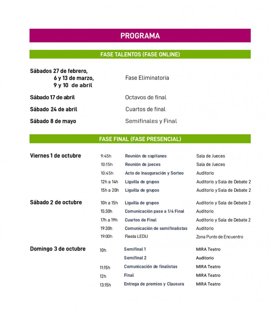 Programa de la Liga Española de Debate Universitario 2021