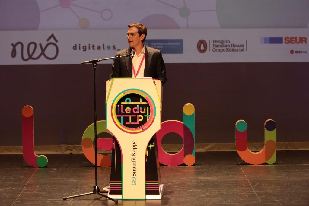 Albert Rivera presidente del jurado de la final de la Liga Española de Debate Universitario (LEDU)2021